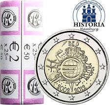 25 x Belgien 2 Euro 2012 bfr. 10 Jahre Euro Bargeld in Original Rolle