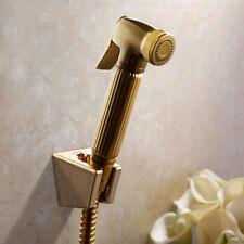 Gold Solid Brass Bidet Hand Shower Spray Shower Head Shattaf Hose Wall Holder