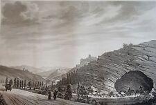 SALATHÉ : GROTTE DE MAS – D'AZIL. D'apres MELLING. Aquatinte originale de 1826.