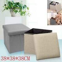 Single Folding Storage Pouffe Cube Foot Stool Seat Ottoman Footstool Toy Box