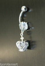 Ring Bar Barbell Body Piercing Jewelry Iced Crystal Crown Dangle Navel Belly
