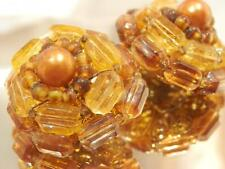 Cluster Flower Clip On Earrings 681ag9 Pretty Vintage 70's Amber Crystal Lucite