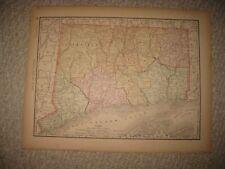 ANTIQUE 1890 CONNECTICUT RAILROAD MAP HARTFORD NEW HAVEN LONDON BRIDGEPORT RARE