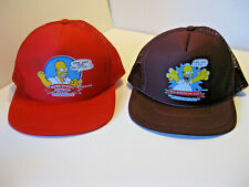 Homer Simpson Ball Caps New Vintage 1990 Two Red & Maroon Netback Fast Ship