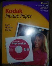 "KODAK Picture Paper 10 SHEETS Soft Gloss 8.5"" x 11"" New Sealed"