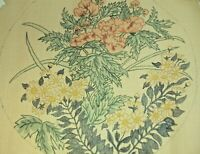 Edie & Ginger Needlepoint Canvas Hand Stitch Painted Floral Design Ecru 18 Count
