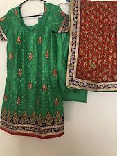 Punjabi patiala salwar suit green suit Red Fulkari punjabi suit