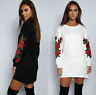 Embroidery Flower Women Long Sleeve T-shirt Loose Casual Blouse Tops Black New