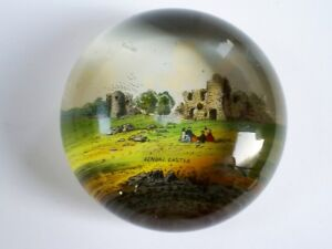 LOVELY ANTIQUE VICTORIAN PICTORIAL GLASS PAPERWEIGHT/KENDAL CASTLE