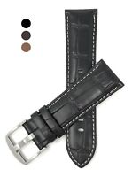 18mm to 24mm, Mens', Croc Style, Genuine Leather Watch Band Strap, White Stitch