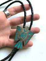 Vintage THUNDERBIRD Bolo Tie STERLING SILVER Turquoise INLAY Southwest JEWELRY