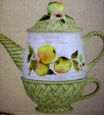 Apple/ Basket Tea  For 1 Set Susan Winget 3pc  Large Ceramic Cup  CRACKER BARREL