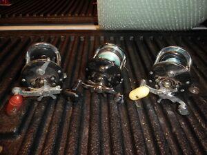 3 VINTAGE PENN FISHING REELS BAITCASTING CONVENTIONAL #155,160,180