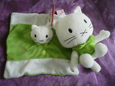 lot peluche + Doudou chat musti vert  blanc BENGY 18 et 20cm