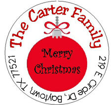 RED CHRISTMAS ORNAMENT -  Round  Address Labels