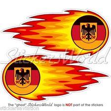 """Allemagne deutsch fireball-fire-flaming 125mm (5 """") bumper-helmet Autocollants Stickers x2"""
