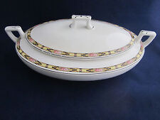 Homer Laughlin K6415M Kwaker Oval Covered Bowl Pink Flowers Black & Yellow Band