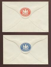 GB QV c1900 TREASURY STATIONERY AUDIT DEPT ENVELOPES RED + BLUE...MINT
