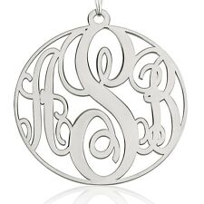 XL Monogram Necklace - XLarge Sterling Silver 1.75″ Circle Pendant - oNecklace ®