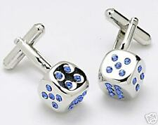 Blue Crystal Dice Cufflinks NEW Cuff Links 3204