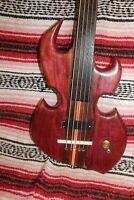 "Bass Fretless 5 String  Purpleheart Scarab Regular Scale 34""   Wishbass"