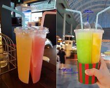 BUBBLE TEA TWIN CUPS SPLIT X 200 PLASTIC DOUBLE CUPS DRINK SUCKERS HARD PLASTIC