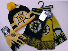 Boston Bruins Logo Apparel Gift Set Scarf Cap Gloves NHL Licensed Authentics