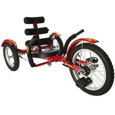 "Mobo Triton 16"" 3 wheels Cruiser Recumbent Trike Adjustable back Red for youth"