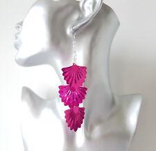 Gorgeous 12.5cm long silver tone layered chain & pink fan sequin drop earrings