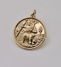Vintage 9carat 9k Yellow Gold Solid St. Christopher Pendant c.1971 2.83 grams