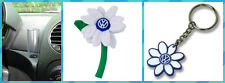 Volkswagen VW New Beetle WHITE VW Logo  Daisy Flower  1- Key Chain & 1- Vase