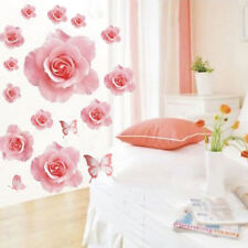 Fashion Wall Sticker 3D Pink Rose Flower Removable Home Decor Decal Vinyl