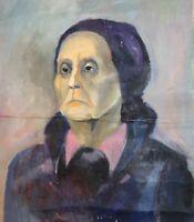 ANTIQUE EXPRESSIONIST WOMAN PORTRAIT OIL PAINTING