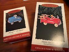 Hallmark Miniatures 2 Ornaments Kiddie Car Classics 1st 2nd in series