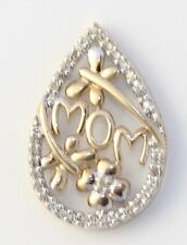 10k Yellow Gold Diamond Pear Shaped Mom Charm Necklace Pendant