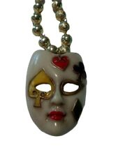 White Poker Face Mask Necklace Golden Beads Gold Bead