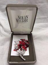 NWB Paris Runway vintage Nolan Miller red clear crystal rose pin brooch