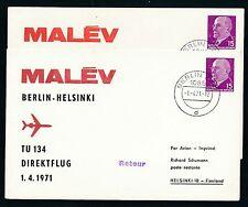 75038) DDR Ulbricht PP 10 D2/3 MALEV FF Berlin - helsinki 1.4.71 Dr braunrot