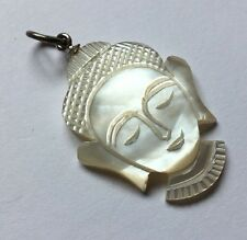 Sterling Silver 925 Mother Of Pearl Carved Buddha Head Pendant Necklace Charm B