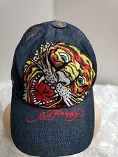 Ed Hardy by Christian Audigier Vtg Tattoo,  Rhinestone Accent Tiger Denim Cap.