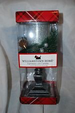 "WILLIAMSTOWN HOME FLAMELESS LED PEDESTAL CHRISTMAS CANDLE SILVER GLITTER 12"" NEW"