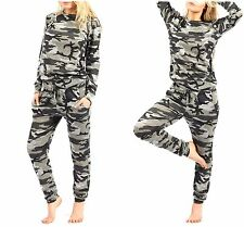 New Ladies Women's Army Camouflage Print 2 Piece Tracksuit Jogging Lounge Suit