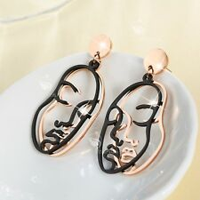 18k rose gold gf filigree abstract face contour earrings black stud dangle