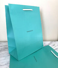 New Authentic Tiffany & Co Turquoise Blue Paper Gift bags LOT OF 2 White Strap