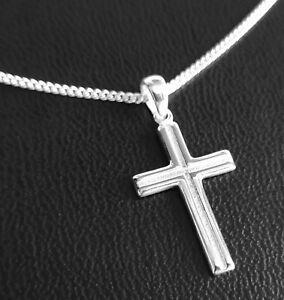 Kreuz Anhänger mit Kette Echt Silber 925 Länge frei wählbar Kinder Erwachsene