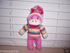 """10"""" Sock Monkey Plush Doll Striped Sweater  Pom Pom Hat NO TAG"""