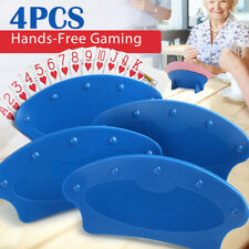 4Pcs Plastic Playing Card Holders for Kids Seniors Family Card Games Poker Party