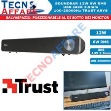 Casse Audio Per PC TV 12W Soundbar USB 2.0 Bassi 100 Hz-20000 Hz Trust Arys