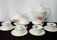 SPODE BILLINGSLEY ROSE teapot,coffeepot, creamer,covered sugar,4 cups & saucers