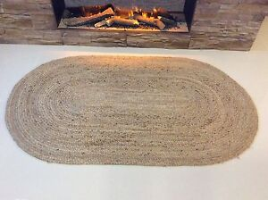 OVAL Braided Natural 100% JUTE Reversible IN & OUTDOOR Rugs Runner washable Gold